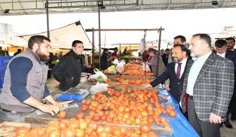 Kapalı Semt Pazarı ziyaretine Ak Parti Milletvekili Dağlı ve ilçe başkanları da katıldı