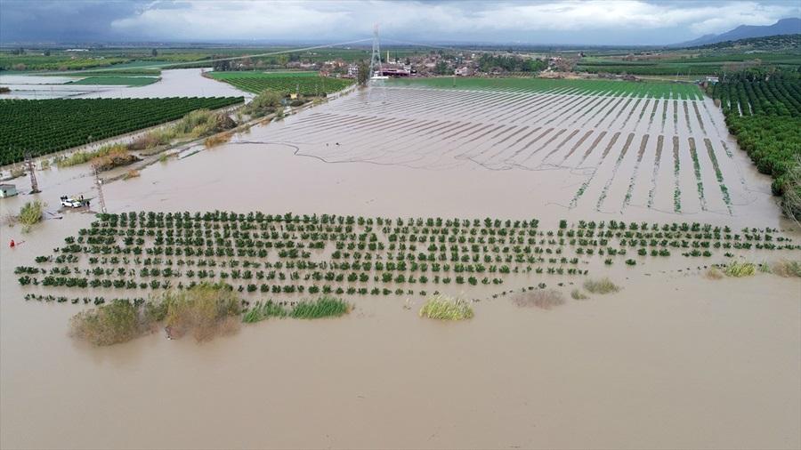 Yoğun yağışlar Ceyhan Nehri'ni taşırdı